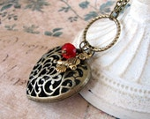 Filigree Heart Necklace, Owl Jewelry, Victorian Style, Red Crystal, Antiqued Brass Chain, Valentine