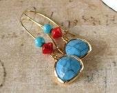 Red and Turquoise Earrings, Blue Gemstone Earrings, Framed Glass Drop Earrings, Red Coral, Retro Earrings, Gold Hoops