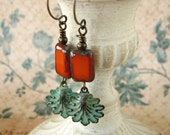 Verdigris Earrings, Orange and Green, Teal Blue, Patina Shell Jewelry, Nautical