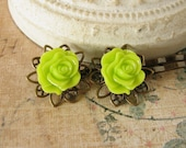 Lime Green Hair Pins, Lemon Lime Bobby Pin Set, Green Rose Cabochons, Neon Hair Clip, Filigree Brass Pins
