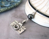 Retro Camera Necklace, Black Leather Choker, Silver Modern Guy Necklace, Geek Jewelry, Shutterbug