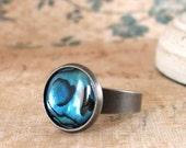 Abalone Ring, Teal Blue Paua Shell Jewelry, Gunmetal Wide Band, Ocean Dot