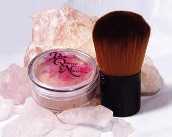 Medium Foundation with Large Vegan Brush Kit Pink Quartz Minerals Mineral Makeup Foundation