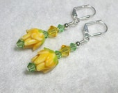 Yellow Rose Earrings Swarovski Crystal Leverback Hooks Yellow Flower Lampwork Earrings Gifts under 5 Yellow Rose Dangle Earrings
