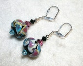 Aqua Rose Lampwork Earrings Black and Pink Leverback Hooks Wire Wrapped