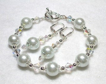 White Pearl Bracelet White Pearl Earrings with AB Swarovski Crystals Silver Plate Leverback Hooks Toggle Clasp Wedding