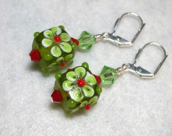 Green Earrings Peridot Earrings Lampwork Earrings Lampwork Cubes Swarovski Crystals Silver Leverback Hooks