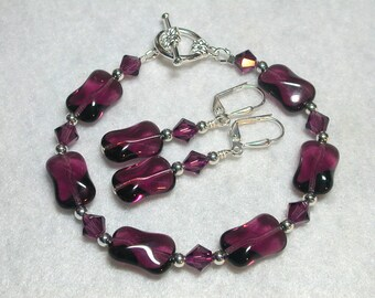 Purple Bracelet Wavy Amethyst Recatangles and Swarovski Crystal Set with Earrings Leverback Hooks Toggle Bracelet Gifts under 10