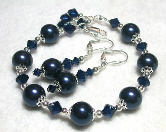 Midnight Blue Pearl Bracelet Swarovski Pearls and Crystals Dark Indigo Silver Leverback Hooks Adjustable to 8 inches Gifts under 10