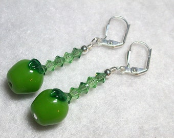 Little Green Apple Earrings Glass Apples Swarovski Crystals Leverback Hooks Wire Wrapped Dangle Earrings