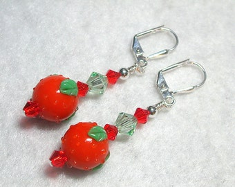 Orange Earrings Lampwork Fruit Earrings Swarovski Crystal in Silver with Chrysolite Fun Flirty Dangle Earrings Leverback Hooks