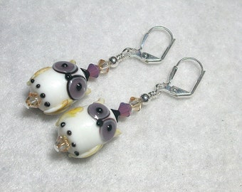 Owl Earrings Black and Purple Owls HOOT Owl Jewelry Lampwork Glass Owls White Earrings Leverback Hooks Swarovski Crystals