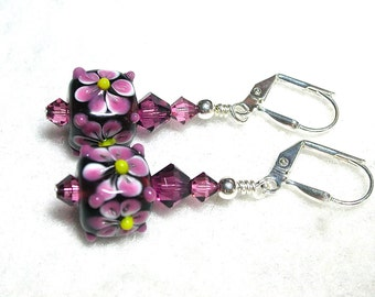 Amethyst Purple Earrings Pink Earrings Lampwork Cubes Swarovski Crystals Silver Leverback Hooks Sweet Dangle Earrings