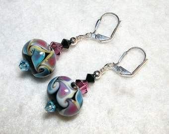 Aqua Rose Lampwork Earrings Black and Pink Leverback Hooks Wire Wrapped Swarovski Crystal Dangle Gifts under 5