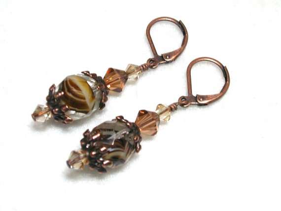 Brown Earrings Copper Earrings Caramel Swirls in Copper