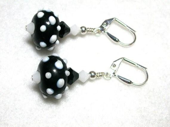 Black Earrings White Earrings Polka Dot Lamp Earrings