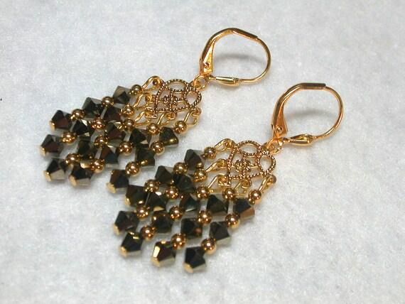 Chandelier Earrings  Gold Jet Black Chandelier Earrings Swarovski Crystal