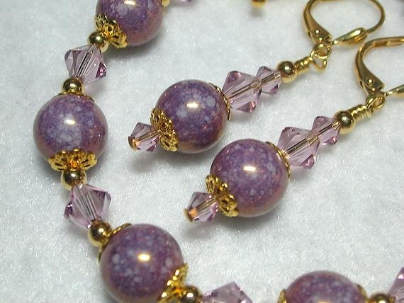 Mauve Purple Bracelet Granite Purple Earrings in Gold