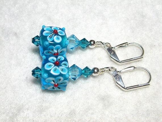 Aqua Blue Earrings Cubes and Swarovski Crystal Earrings