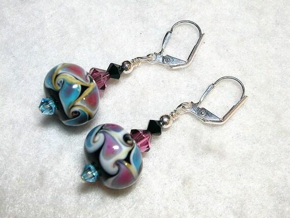 Aqua Rose Lampwork Earrings