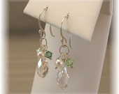 Bridesmaid Earrings, Short Cascade Earrings, Clover Green Bridesmaids, Sterling Silver, Freshwater Pearls and Swarovski Austrian Crystal