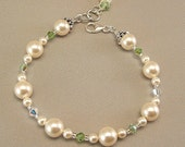 Spring Green Blend Bracelet, Clover Green Bridesmaids, Ivory Swarovski Pearls and Swarovski Crystal