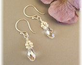Petite Ivory Wedding Gown Earrings - Cream Capped Swarovski Crystal Teardrops, Available in 14K gold filled or sterling silver metal