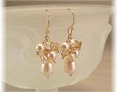 Honey Golden Blend  Earrings, 14k gold filled, Champagne Weddings,  Swarovski Austrian Crystal and  Freshwater Pearls
