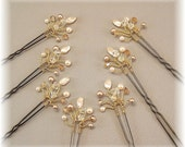 Wedding Hair Accessories, Bridal Hair Pins, Golden Honey Blend Crystal and Pearls, Set of Seven Hair Pins with Gold Plated Wiring