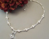 Beaded Teardrop Wedding Necklace, Bridal Necklace, White Pearls and Clear Crystal, choice of white or ivory pearls