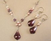 Bridesmaid Purple Blend Necklace and Earring Sets, Purple Bridesmaids, Jewelry Sets, Oxidized Sterling Silver