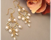 Long Pearl and Crystal Chandelier Earrings, 14k Gold Filled  with Freshwater Pearls and Golden Shadow Crystal