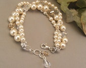 Ivory Wedding Gown Bracelet, Cream Swarovski Pearls with Golden Shadow Blend Crystal, Intertwined Bracelet