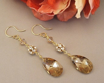 Wedding Earrings - 14k Gold Filled,  Swarovski Fire Balls and Faceted Champagne Teardrops