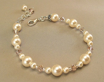 Dusty Rose Blend Bridesmaid Bracelet, Ivory Swarovski Pearls and Crystals, Bridesmaid Jewelry - Available in Ivory or White Pearls