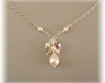 Dusty Rose Blend Bridesmaid Cluster Drop Necklace, Cascade Pendant, Bridesmaid Jewelry, Bridal Necklace