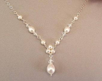 Bridal Diamantes Trinity Pearl Necklace, Delicate, Simple, Dainty Wedding Necklaces, Teardrop Necklace, White or Cream Pearls available