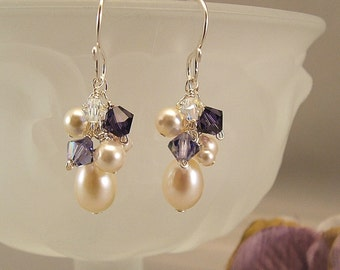 Purple Velvet Blend Earrings, Purple Bridesmaid Earrings, Purple Wedding Jewelry, Swarovski Elements and Ivory Pearls