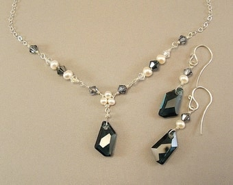 Navy Crystal Blend Necklace and Earring Set, Navy Weddings