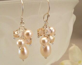 Light Peach Blend Earrings, Peach Weddings, Swarovski Austrian Crystal with Ivory Pearls - Bridesmaid Earrings