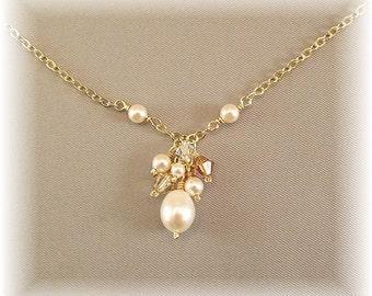 Honey Golden Blend Bridesmaid Cluster Necklace, Ivory Wedding Gown Pendant, 14k Gold Filled Jewelry, 14k Gold Filled Necklace