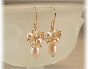 Honey Golden Blend  Earrings, 14k gold filled, Champagne Weddings,  Swarovski Austrian Crystal and  Freshwater Pearls