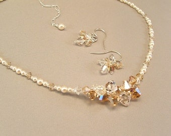 Necklace and Earrings Sets, Jewelry Sets, Crystal and Pearl Cluster Necklace, Shades of Golden Honey