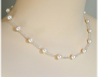 Cream Swarovski Pearl Tin Cup Necklace, Delicate Bridal Necklaces, Pearl Necklace Floating Pearls Necklace, Weddings