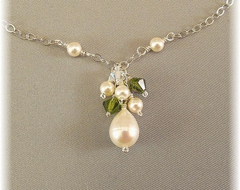 Olive Green & Pearl Bridesmaid Necklace, Green Necklaces, Bridesmaid Necklaces, Cluster Necklace, Green Weddings