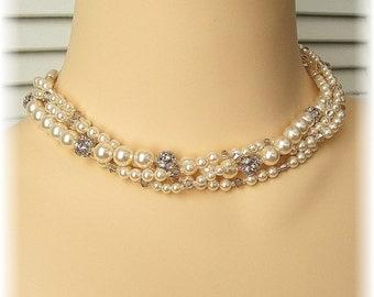 Golden Hue Multi Strand Necklace, Bridal Torsade Necklace, Swarovski Rhinestone Jewelry