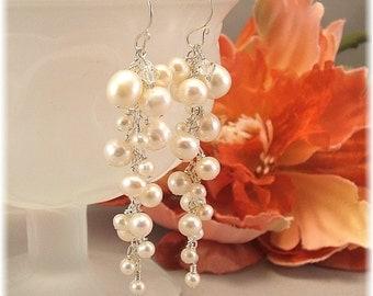 White Freshwater Pearl Wedding Earrings, Long Pearl Earrings, Cascade Earrings, beaded wedding earrings