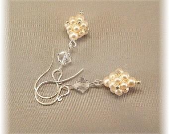 Regal Elegance Woven Drop Earrings - Ivory Pearls and Clear Swarovski Crystal - Bridal Earrings