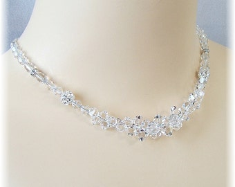 Clear Swarovski Crystal Wedding Necklace - Special Day Necklace - Bridal