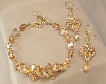 Bracelet and Earring Set, Golden Rock Candy Bracelet, 14k gold filled jewelry, Woven Teardrop Earrings